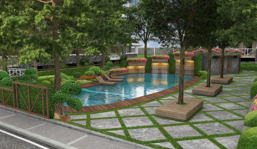 Pine Suites Tagaytay swimming pool in a condo amenity area perspective