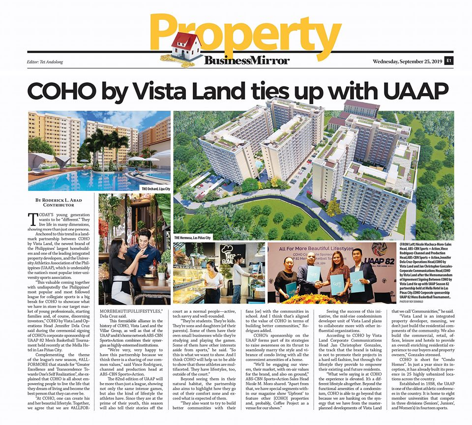 newspaper clipping on Property section with title COHO by Vista Land ties up with UAAP