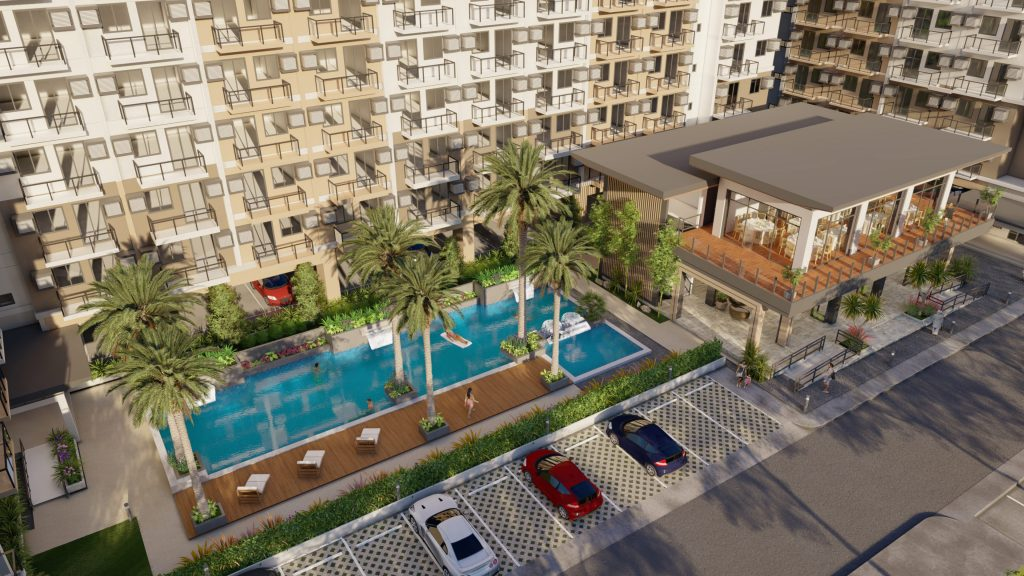 swimming pool and clubhouse amenities in a condo for sale with green trees and parking
