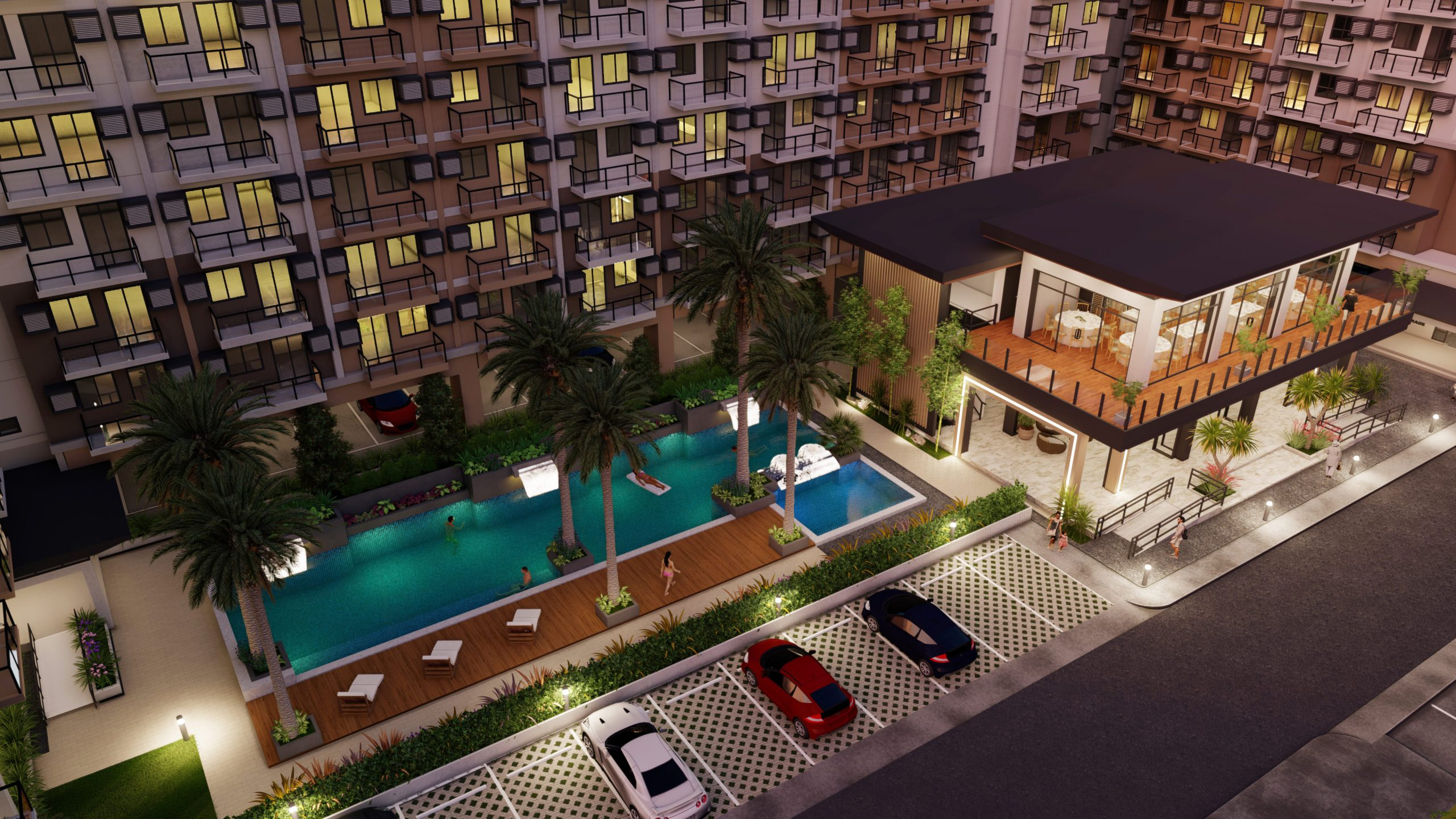 pool and clubhouse in a condo building ground floor with parked cars