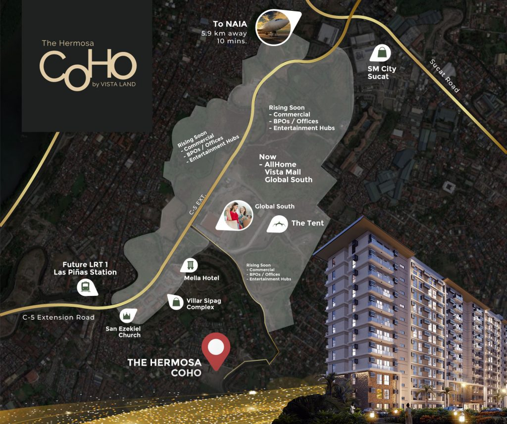 The Hermosa vicinity map in Las Pinas with building perspective on lower right corner