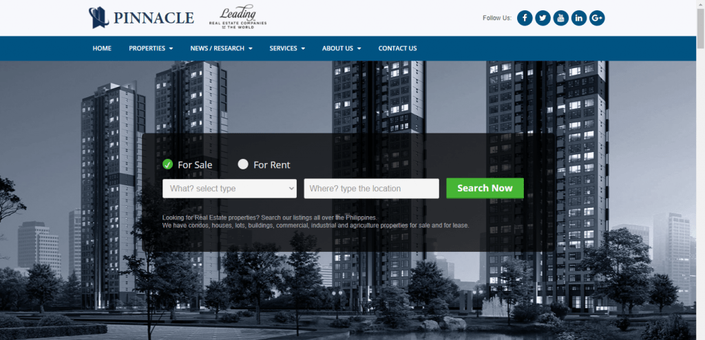Pinnacle website with buildings on background and text For sale and for rent and search now - condo for sale