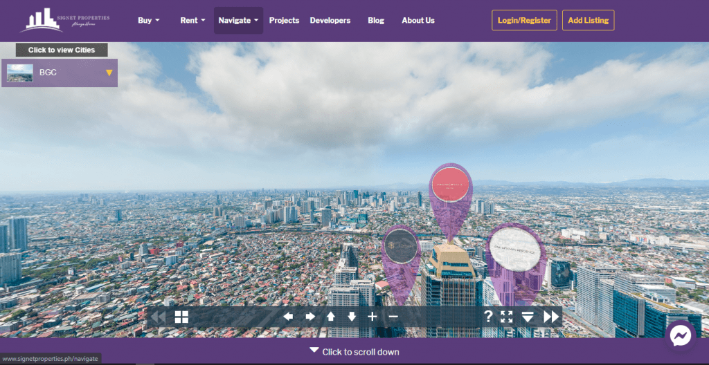 Signet Properties website with google map and purple markers - condo for sale