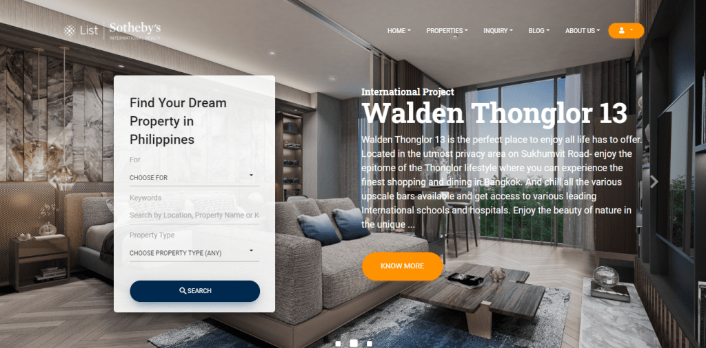 List Sotheby's International website with text Find your dream property in Philippines and Walden Thonglor 13 - condo for sale