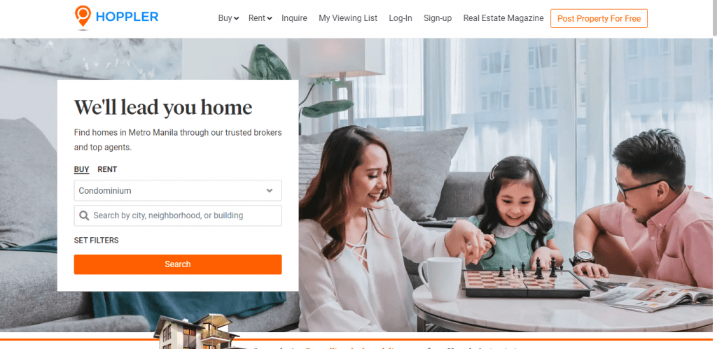 Hoppler website with family photo in background and black text We'll lead you home - condo for sale