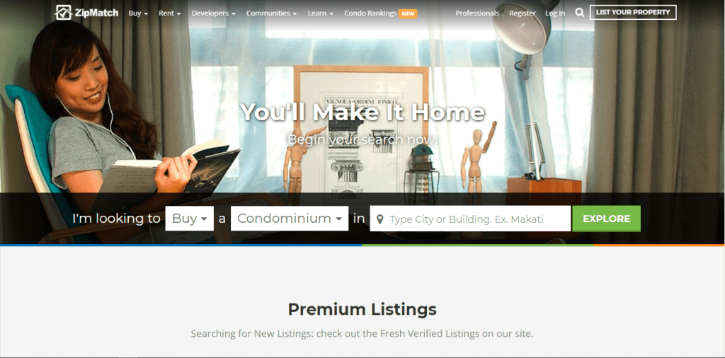 ZipMatch website home page with text You'll Make It Home Premium Listings - condo for sale