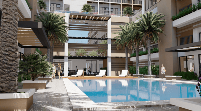 blue swimming pool in a condo for sale development with greenery - The Courtyard COHO, Vista Land, Bonifacio Global City (BGC), Taguig City, Condominium.