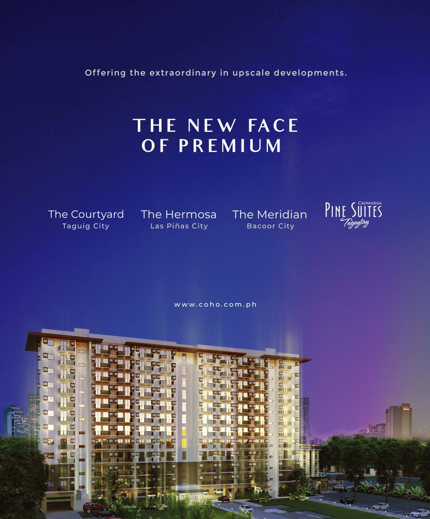 The New Face of Premium campaign poster with a building with night lights in dark blue and purple sky