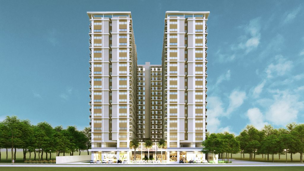 Taguig nude tall building facade of condo for sale in Taguig with greenery and lush trees and blue sky