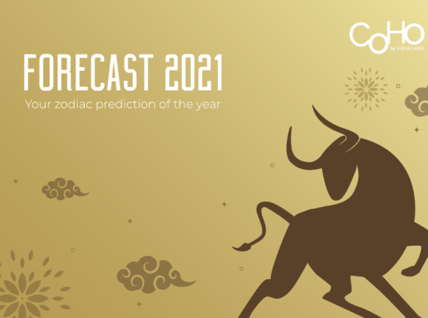 """""""Forecast 2021: Your zodiac prediction of the year"""" on Golden poster of Chinese Lunar Year with outline of Ox to signify Year of the Metal Ox, and small clouds and firework elements in the background"""